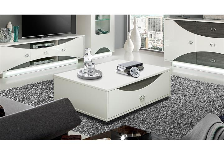 couchtisch wave beistelltisch wohnzimmertisch in wei hochglanz und eiche grau eur 239 95. Black Bedroom Furniture Sets. Home Design Ideas