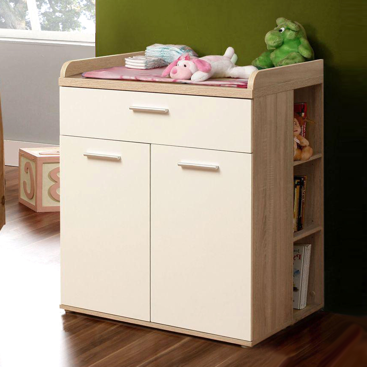 wickelkommode winnie 2 t rig babyzimmer sonoma eiche dekor und wei ebay. Black Bedroom Furniture Sets. Home Design Ideas