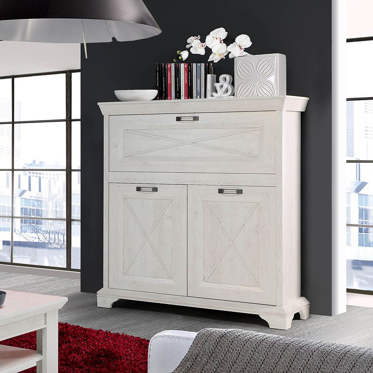 barkommode kashmir highboard schrank stauraumelement in pinie wei ebay. Black Bedroom Furniture Sets. Home Design Ideas