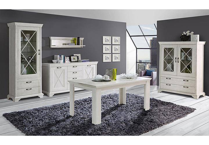esstisch kashmir tisch esszimmertisch in pinie wei ausziehbar 160 205. Black Bedroom Furniture Sets. Home Design Ideas