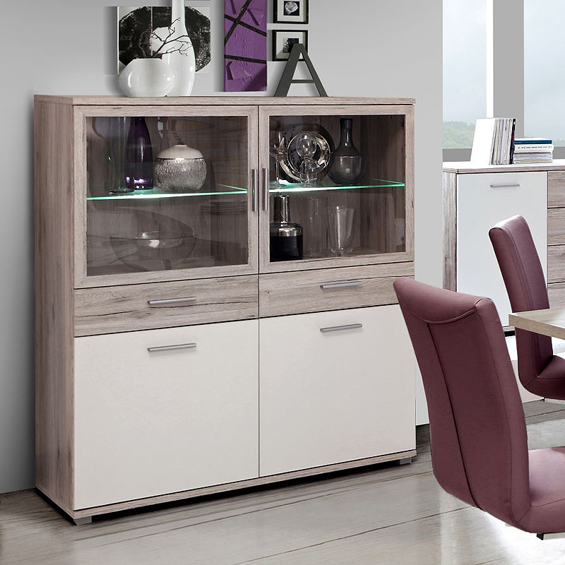 vitrine 3 beach highboard schrank buffet esszimmerschrank. Black Bedroom Furniture Sets. Home Design Ideas