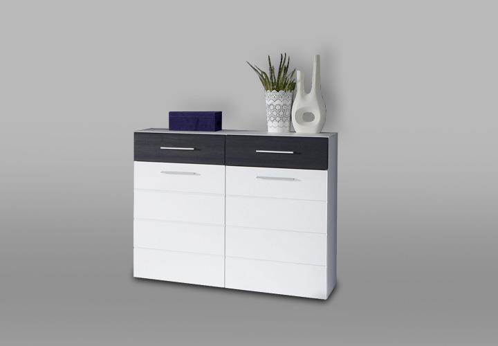 schuhschrank polar kommode garderobe in wei hochglanz und eiche schwarz ebay. Black Bedroom Furniture Sets. Home Design Ideas