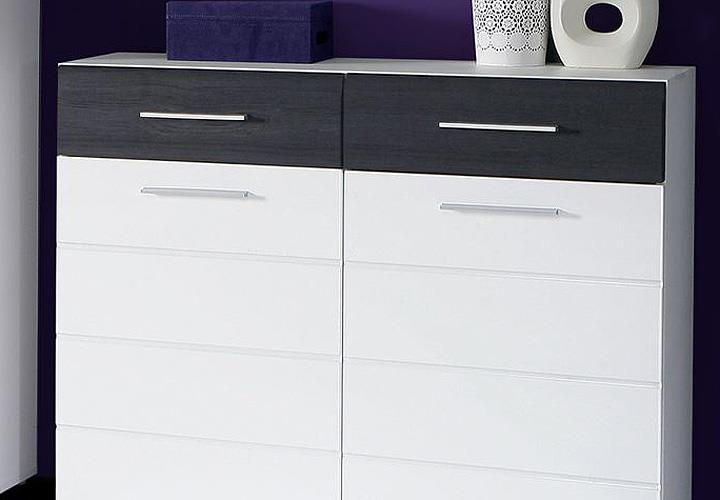 schuhschrank polar kommode garderobe in wei hochglanz und eiche schwarz ebay. Black Bedroom Furniture Sets. Home Design Ideas