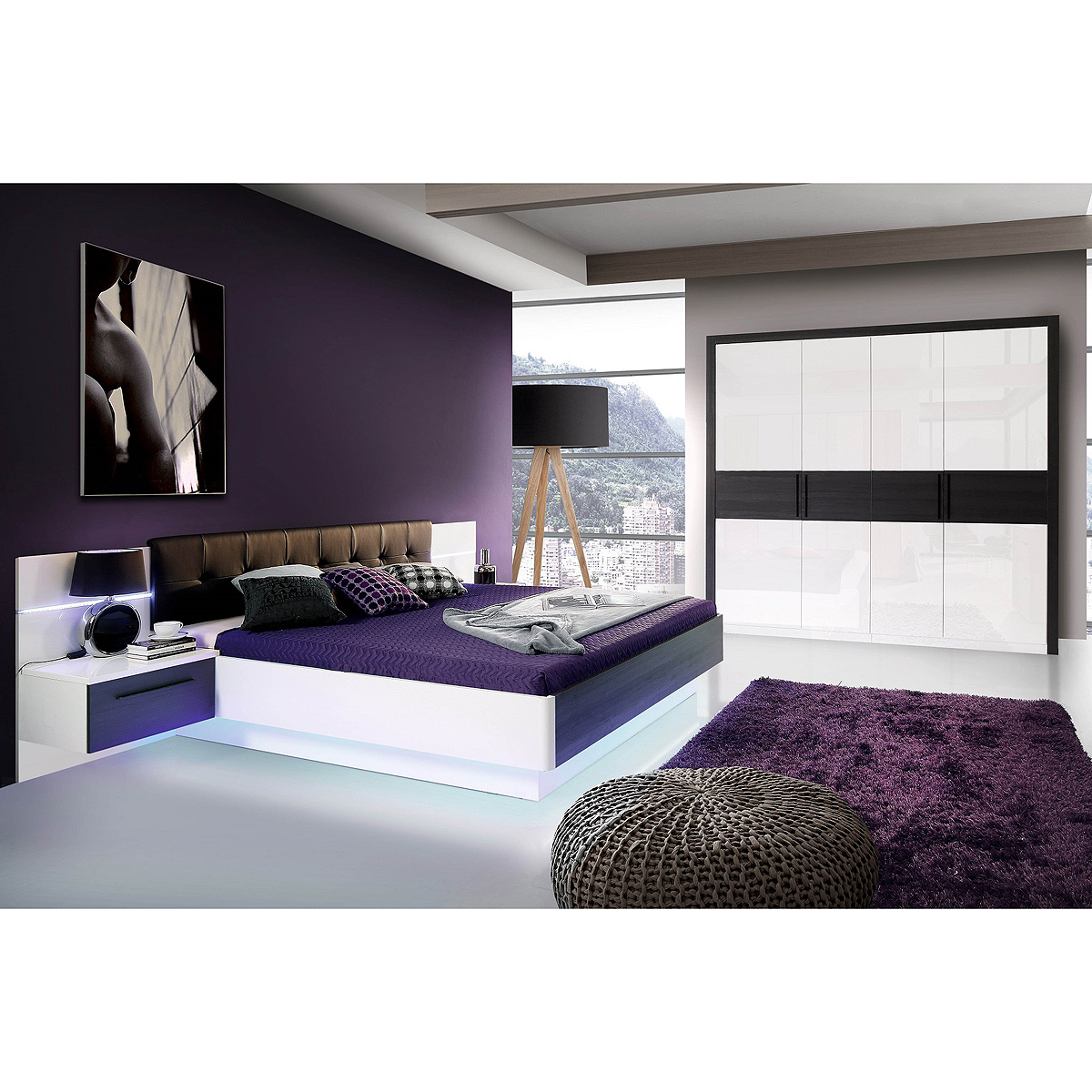 schlafzimmer 1 recover schrank bett nako wei hochglanz eiche schwarz mit led ebay. Black Bedroom Furniture Sets. Home Design Ideas