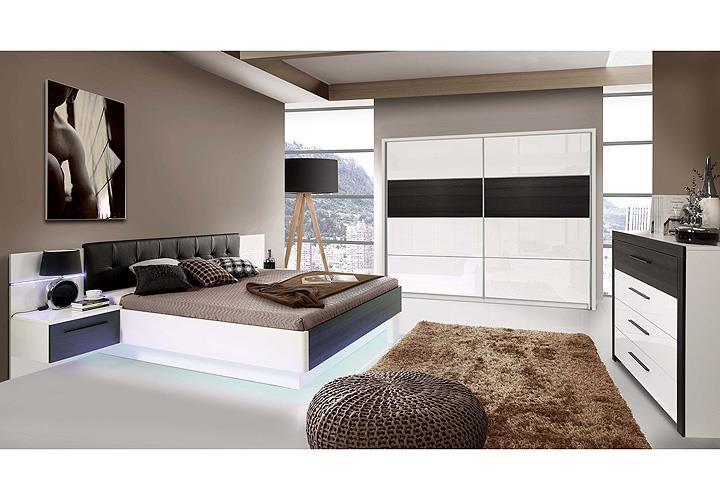 schlafzimmer 2 recover schrank bett nako wei hochglanz eiche schwarz mit led ebay. Black Bedroom Furniture Sets. Home Design Ideas
