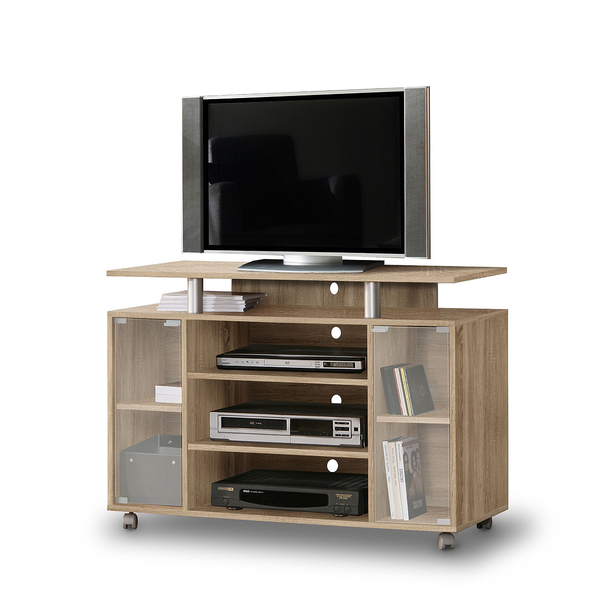 tv schrank rtv rack tv board fernsehschrank in sonoma eiche auf rollen ebay. Black Bedroom Furniture Sets. Home Design Ideas