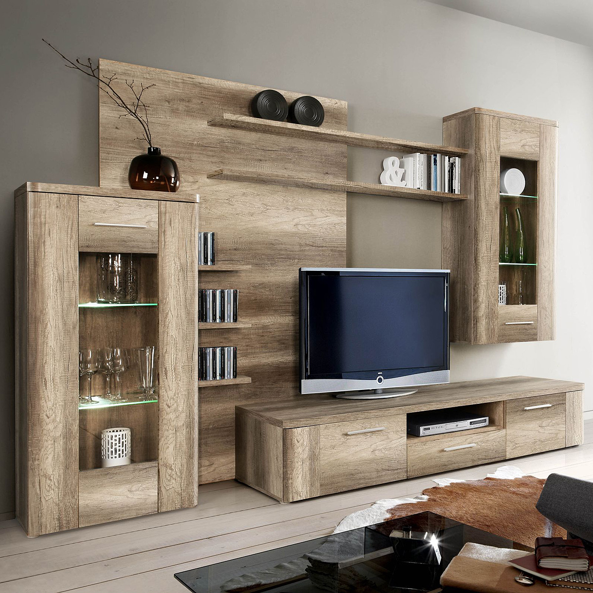 wohnwand buffalo anbauwand wohnkombi wohnzimmer eiche antik inkl led ebay. Black Bedroom Furniture Sets. Home Design Ideas
