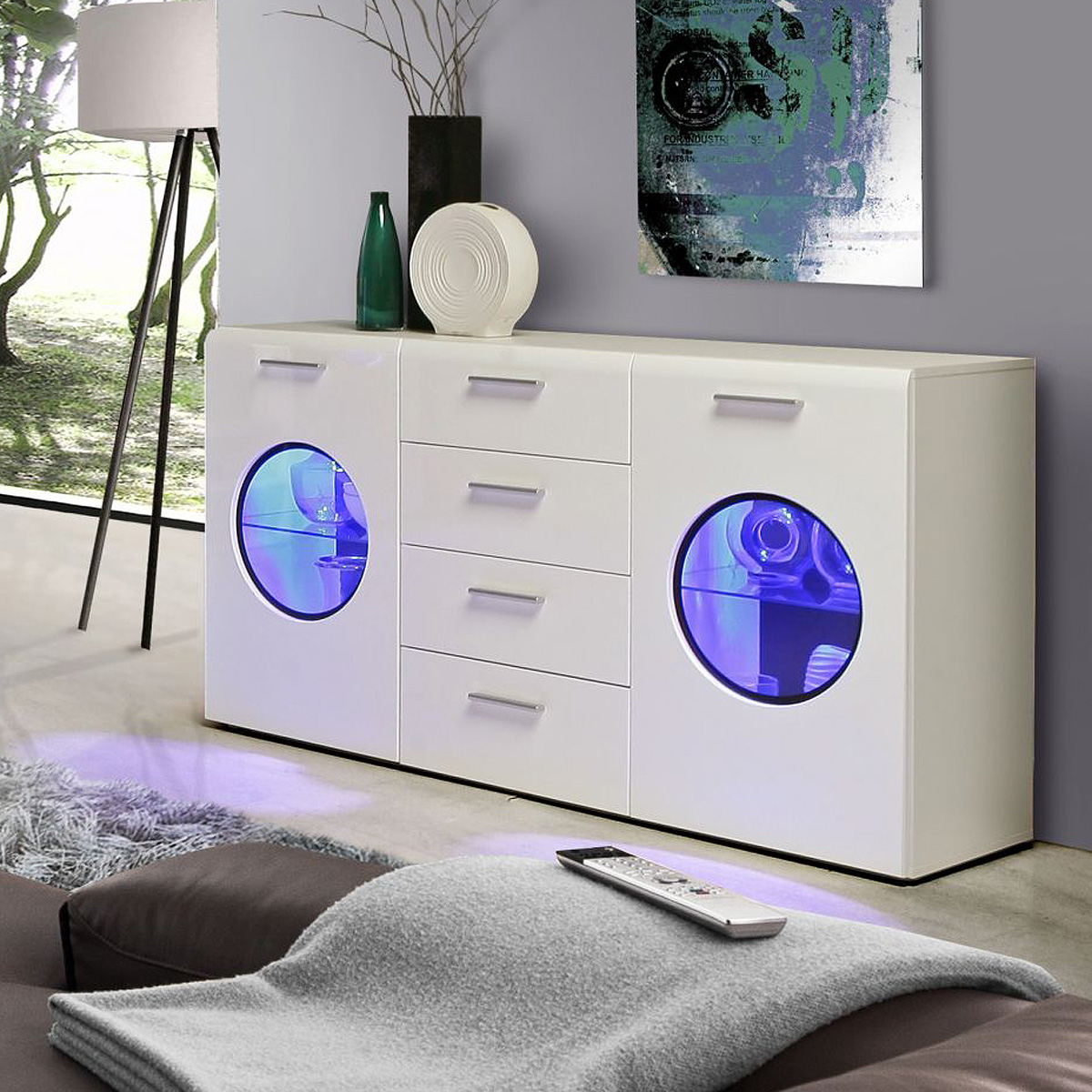 sideboard skipper kommode anrichte wei hochglanz schwarz inkl led ebay. Black Bedroom Furniture Sets. Home Design Ideas