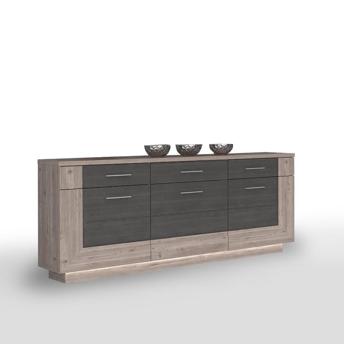 sideboard stairs kommode anrichte in nelsoneiche und eiche grau inkl led ebay. Black Bedroom Furniture Sets. Home Design Ideas