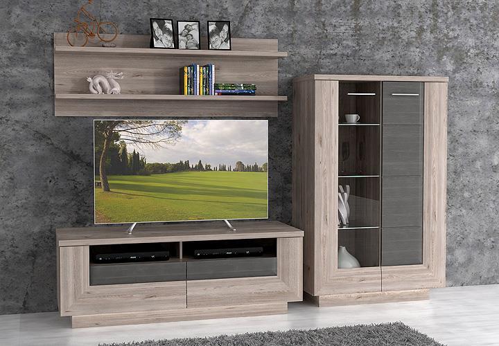 wohnwand stairs anbauwand wohnkombi wohnzimmer nelsoneiche eiche grau inkl led eur 528 95. Black Bedroom Furniture Sets. Home Design Ideas