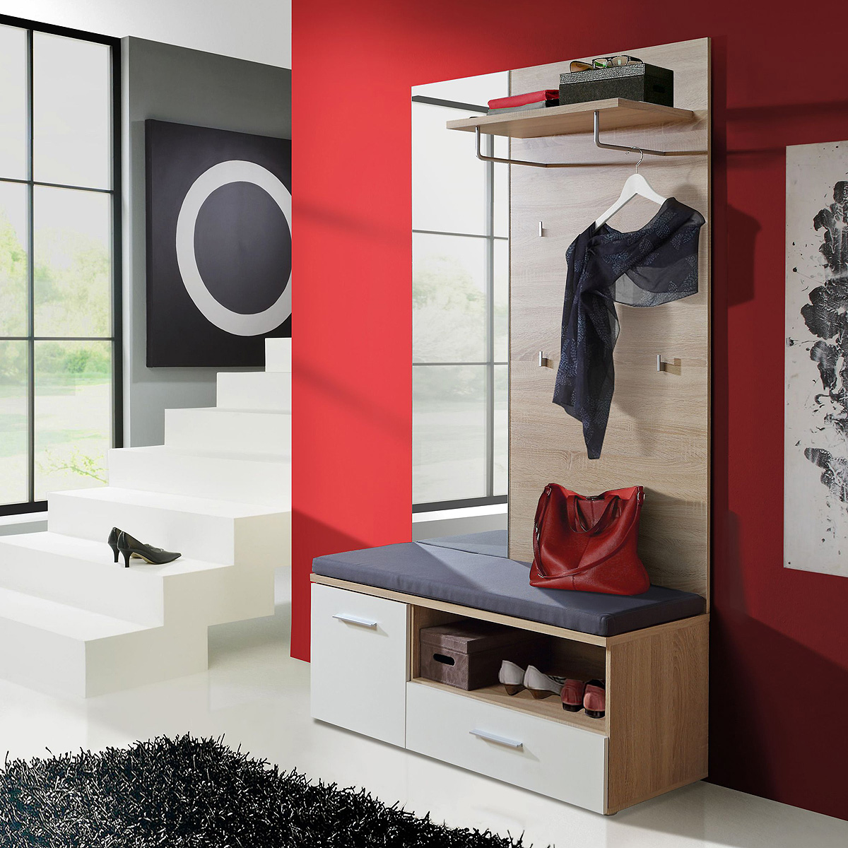 garderobenset baku garderobe paneel spiegel schuhbank sonoma eiche wei ebay. Black Bedroom Furniture Sets. Home Design Ideas