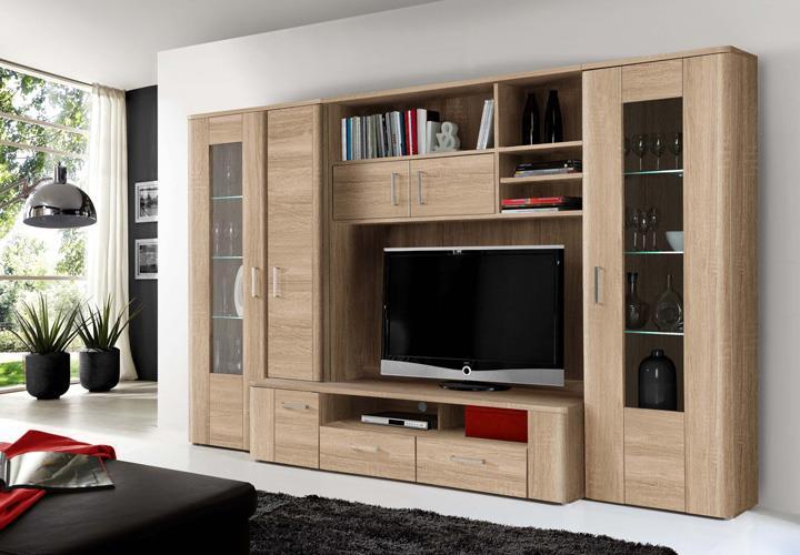 wohnwand belmondo anbauwand wohnkombi wohnzimmer sonoma eiche inkl led ebay. Black Bedroom Furniture Sets. Home Design Ideas
