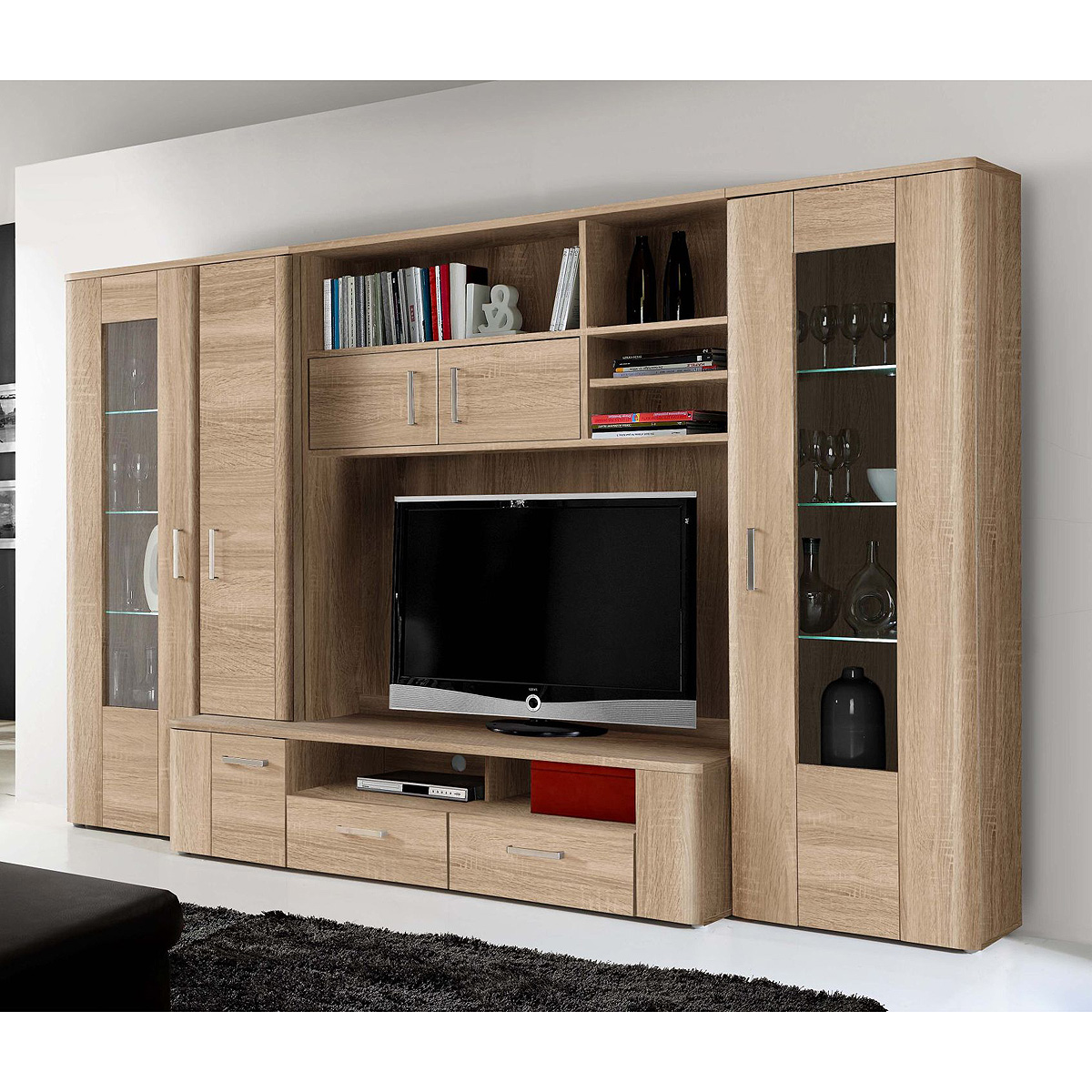 wohnwand belmondo anbauwand wohnkombi wohnzimmer sonoma eiche inkl led ebay. Black Bedroom Furniture Sets. Home Design Ideas