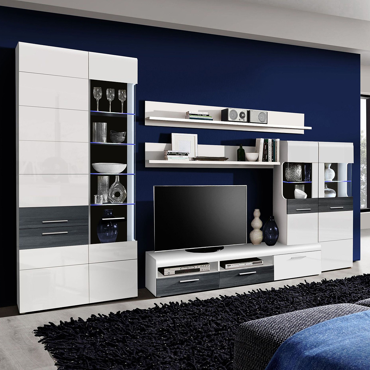 wohnwand cortino anbauwand wohnzimmer weiß hochglanz schwarzeiche