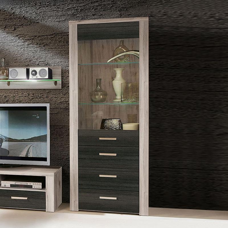 vitrine midway glasvitrine standvitrine schrank sandeiche touchwood mit led ebay. Black Bedroom Furniture Sets. Home Design Ideas
