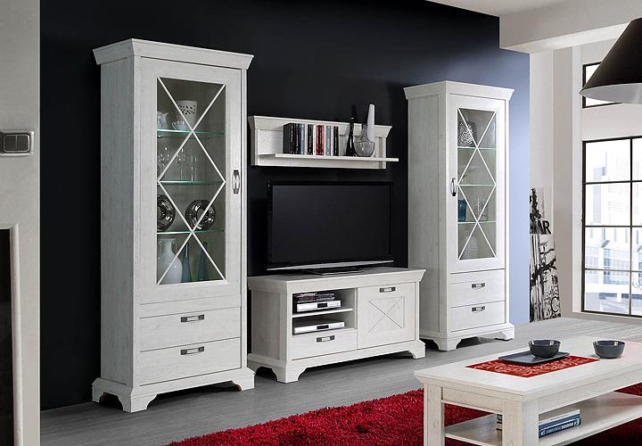 wohnwand 3 kashmir anbauwand wohnkimbi wohnzimmer in pinie wei inkl led ebay. Black Bedroom Furniture Sets. Home Design Ideas