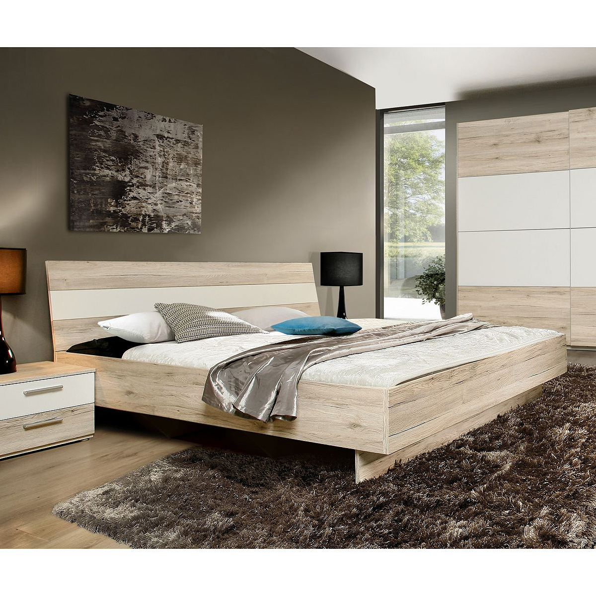 bett valerie futonbett schlafzimmerbett doppelbett in sandeiche wei 180x200 cm ebay. Black Bedroom Furniture Sets. Home Design Ideas