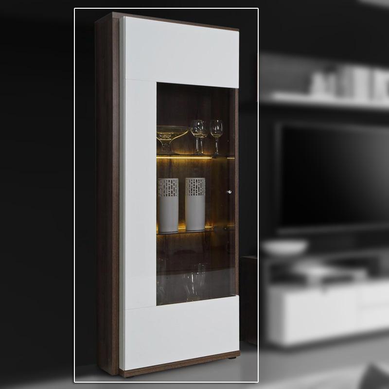 vitrine alcano glasvitrine standvitrine schrank wei hochglanz schlammeiche ebay. Black Bedroom Furniture Sets. Home Design Ideas