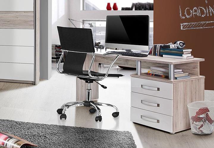 schreibtisch rondino computertisch pc tisch sandeiche wei. Black Bedroom Furniture Sets. Home Design Ideas