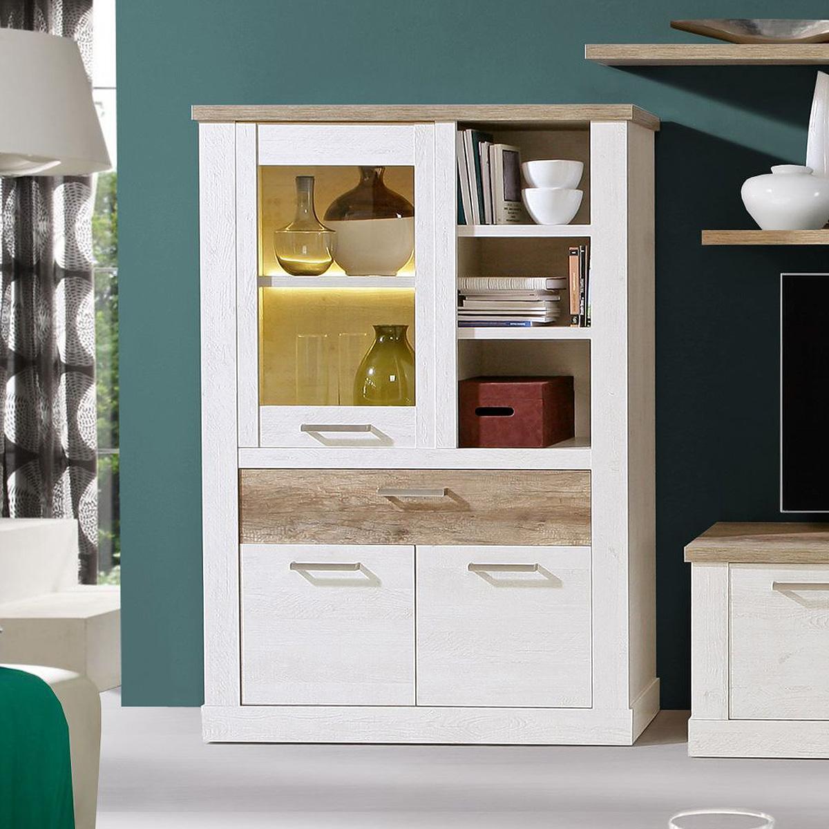 vitrine 1 duro highboard schrank standvitrine in pinie wei und eiche antik ebay. Black Bedroom Furniture Sets. Home Design Ideas