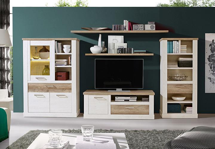 regal duro b cherregal dekoregal stauraumelement pinie wei und eiche antik ebay. Black Bedroom Furniture Sets. Home Design Ideas