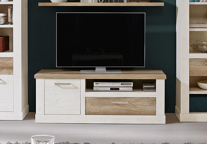 tv unterschrank duro lowboard tv board pinie wei und eiche antik. Black Bedroom Furniture Sets. Home Design Ideas