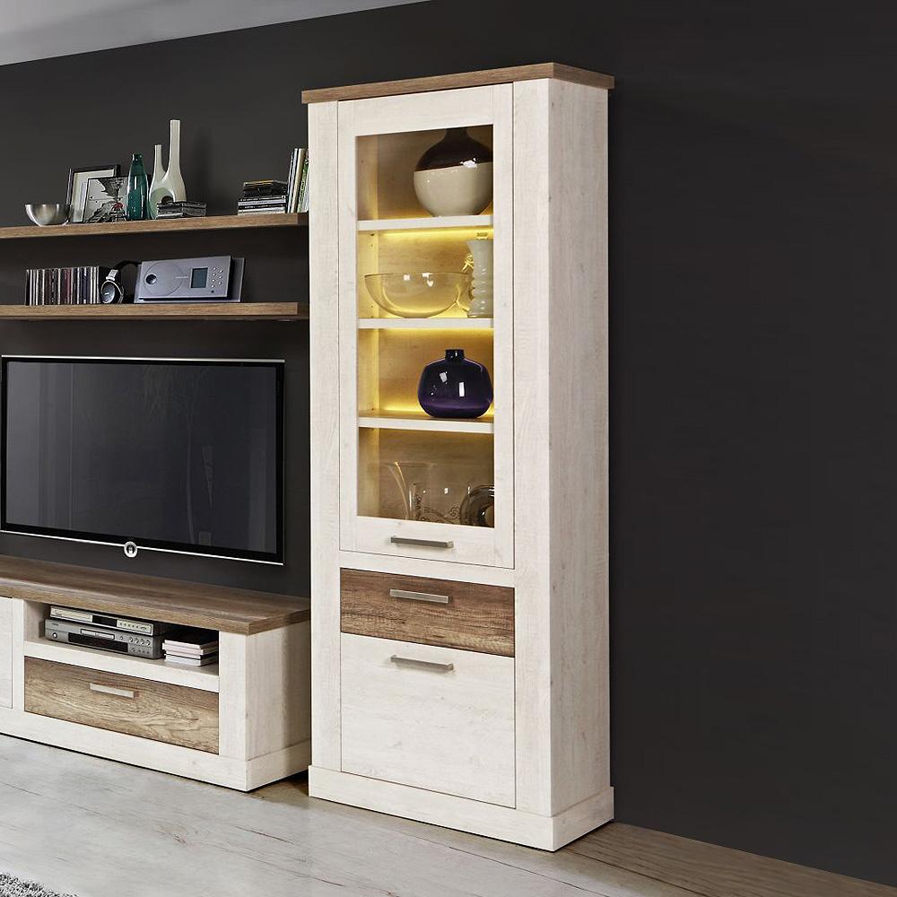 vitrine duro glasvitrine standvitrine schrank pinie wei und eiche antik. Black Bedroom Furniture Sets. Home Design Ideas