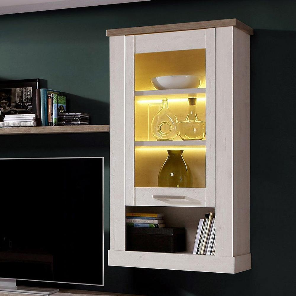 h ngevitrine duro h ngeschrank h ngeelement schrank pinie wei und eiche antik ebay. Black Bedroom Furniture Sets. Home Design Ideas