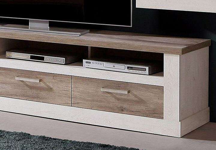 tv unterschrank 2 duro lowboard tv board pinie wei und eiche antik ebay. Black Bedroom Furniture Sets. Home Design Ideas