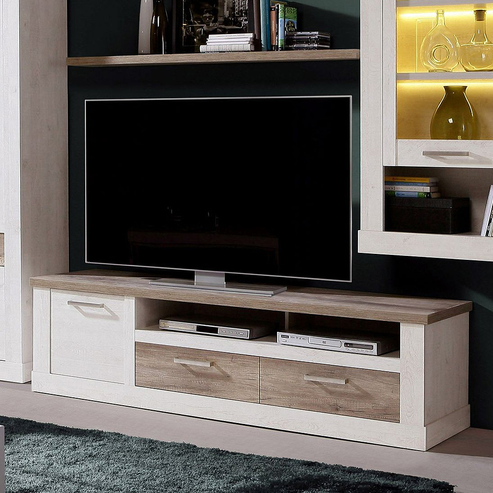 tv unterschrank 2 duro lowboard tv board pinie wei und. Black Bedroom Furniture Sets. Home Design Ideas