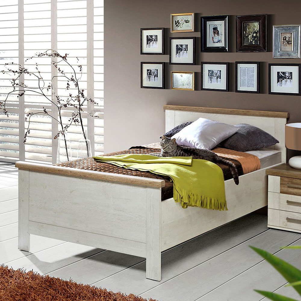 bett duro jugendzimmerbett seniorenbett in pinie wei und eiche antik 100x200 ebay. Black Bedroom Furniture Sets. Home Design Ideas