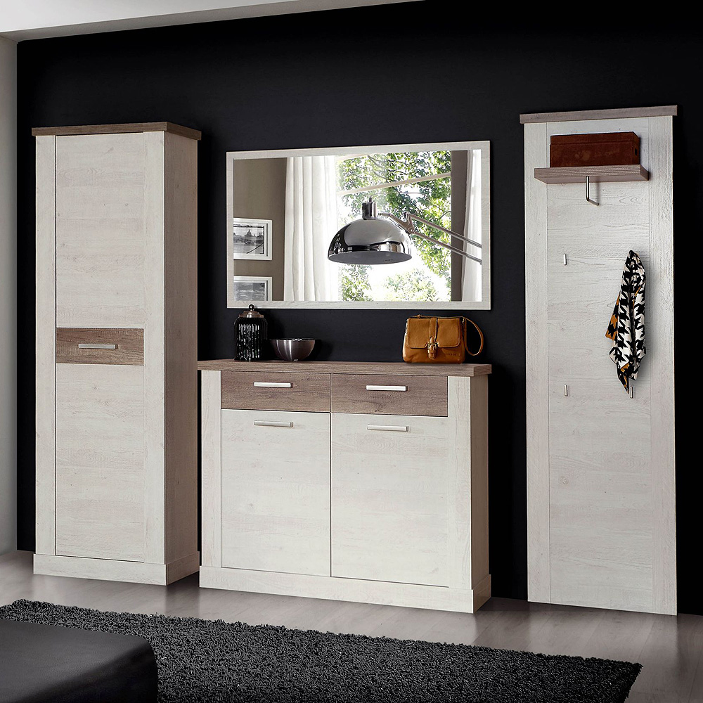 garderobenset duro garderobe schrank schuhschrank spiegel pinie wei eiche antik ebay. Black Bedroom Furniture Sets. Home Design Ideas
