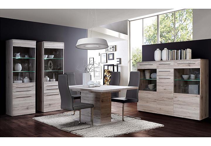 highboard savoy schrank sideboard vitrine in sandeiche inkl led eur 289 95 picclick de. Black Bedroom Furniture Sets. Home Design Ideas