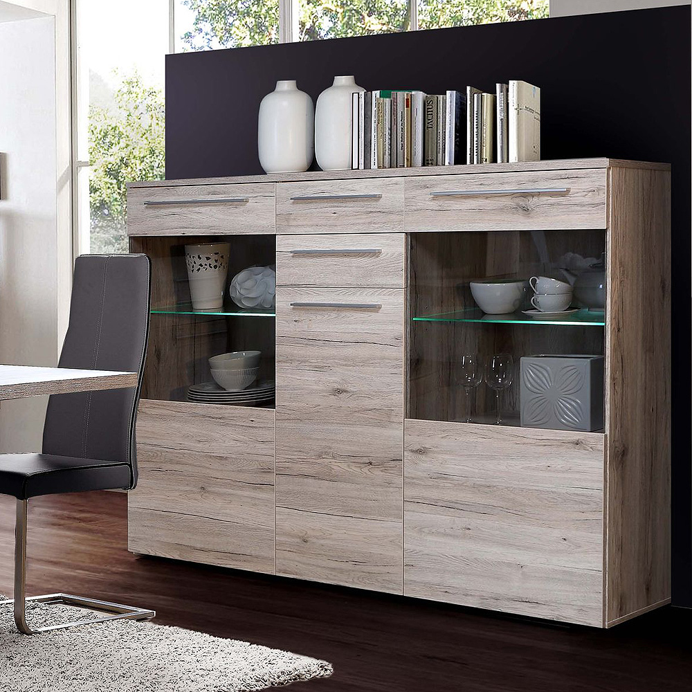 highboard savoy schrank sideboard vitrine in sandeiche inkl led ebay. Black Bedroom Furniture Sets. Home Design Ideas