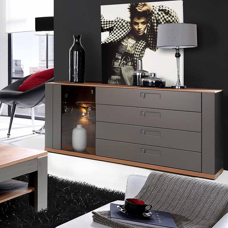 sideboard burgos kommode anrichte wolfram grau sangallo eiche ebay. Black Bedroom Furniture Sets. Home Design Ideas