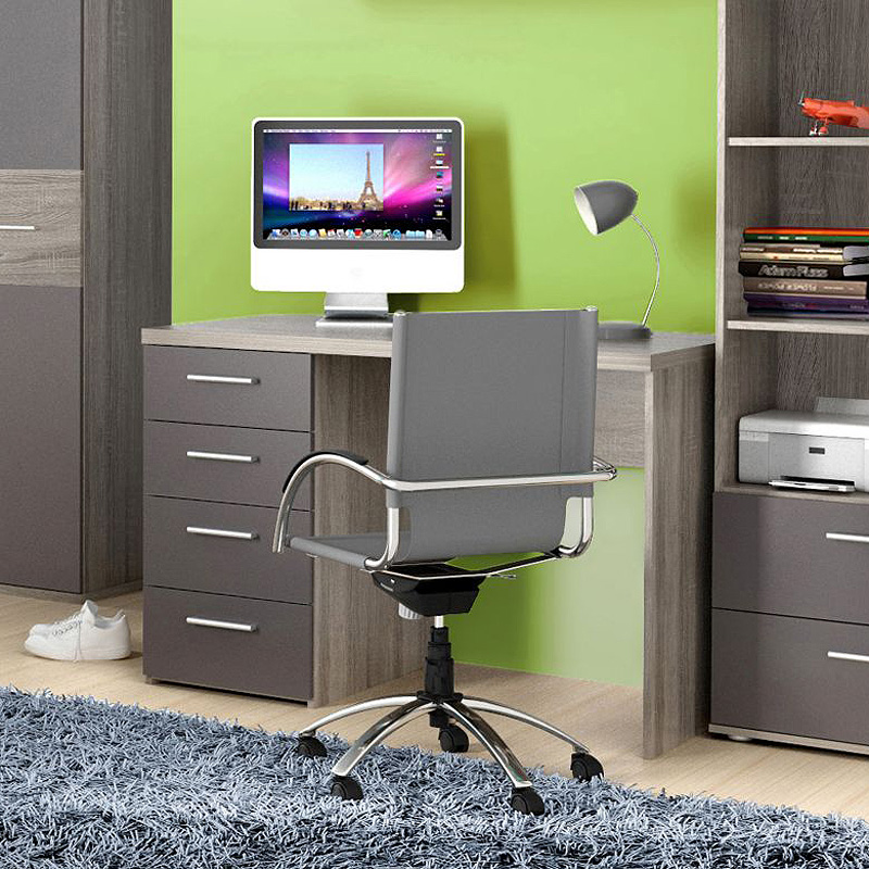 schreibtisch jimmy computertisch pc tisch sonoma eiche grau matt ebay. Black Bedroom Furniture Sets. Home Design Ideas