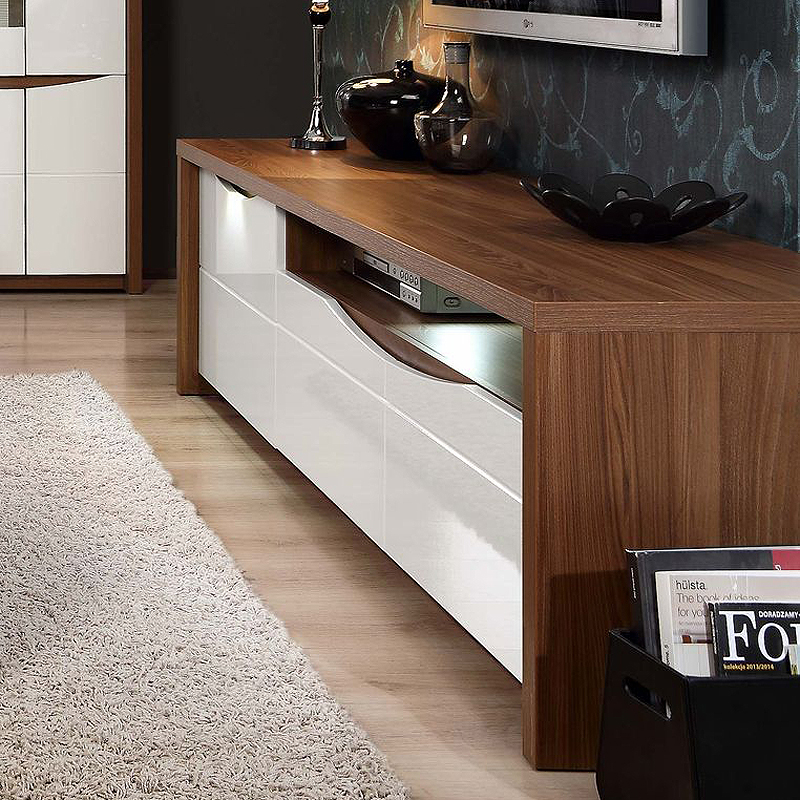 tv board saint tropez unterschrank wei hochglanz eiche. Black Bedroom Furniture Sets. Home Design Ideas