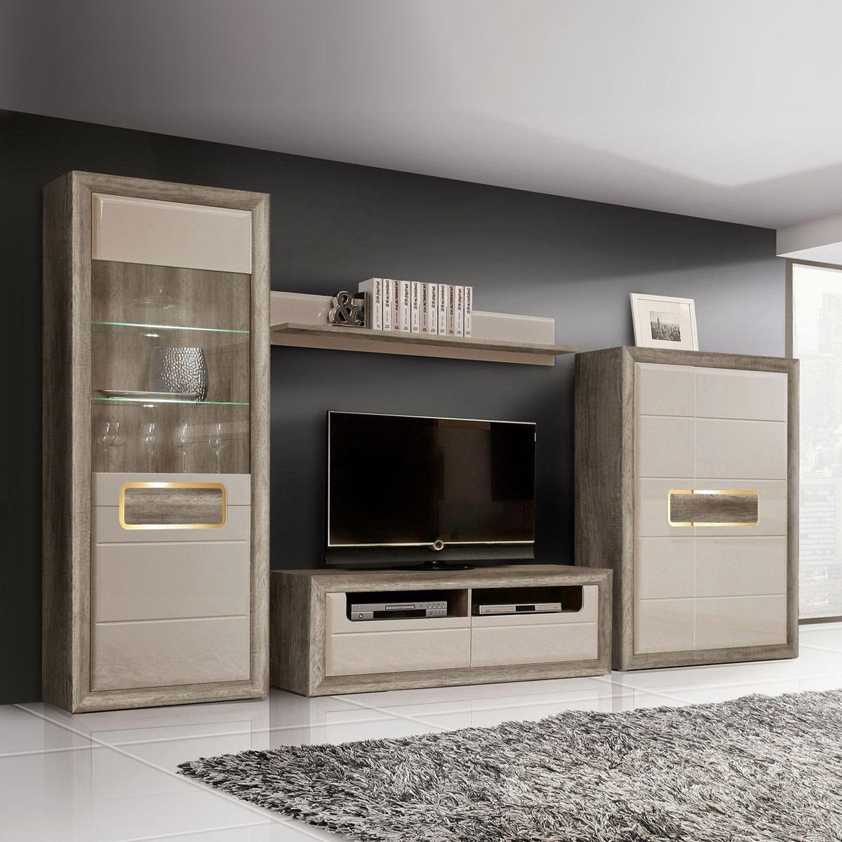 wohnwand 2 tizianos anbauwand wohnkombi beige hochglanz und antik eiche mit led ebay. Black Bedroom Furniture Sets. Home Design Ideas