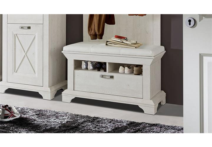 schuhbank kashmir bank garderobe kommode in pinie wei mit kissen ebay. Black Bedroom Furniture Sets. Home Design Ideas