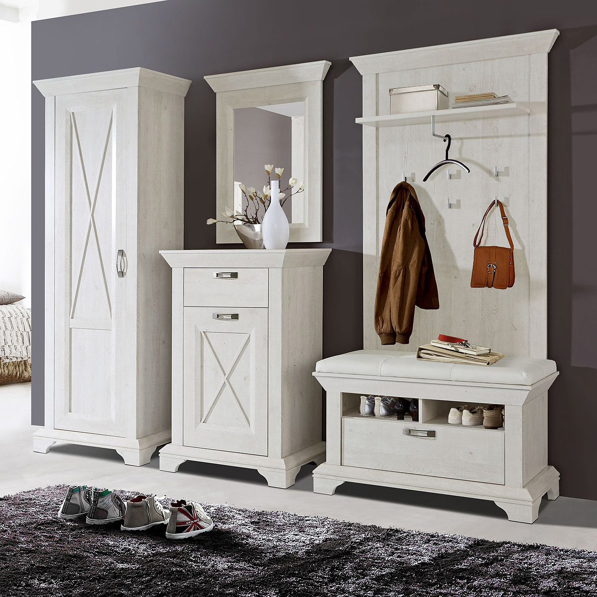 garderobenset kashmir garderobe schrank bank paneel kommode spiegel pinie wei ebay. Black Bedroom Furniture Sets. Home Design Ideas
