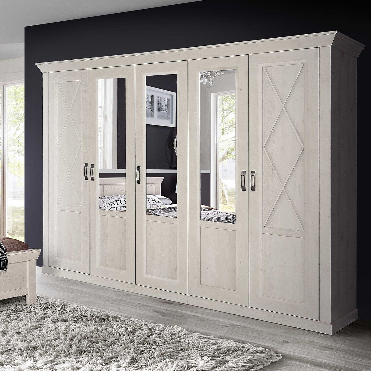kleiderschrank kashmir schrank dreht renschrank in pinie wei mit spiegel 268 ebay. Black Bedroom Furniture Sets. Home Design Ideas