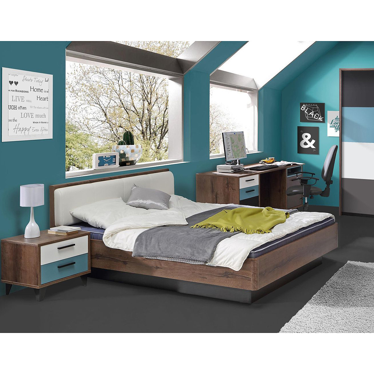 bett raven jugendzimmerbett doppelbett in schlammeiche und wei 140x200 ebay. Black Bedroom Furniture Sets. Home Design Ideas