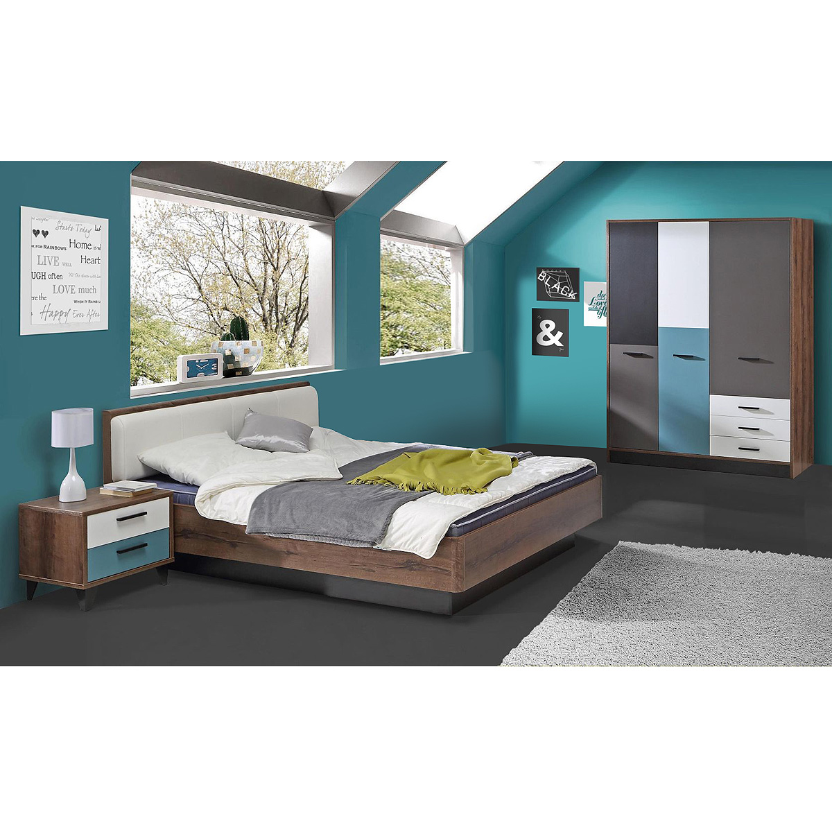 jugendzimmer 2 raven kinderzimmer in schlammeiche wei schwarz gr n grau. Black Bedroom Furniture Sets. Home Design Ideas