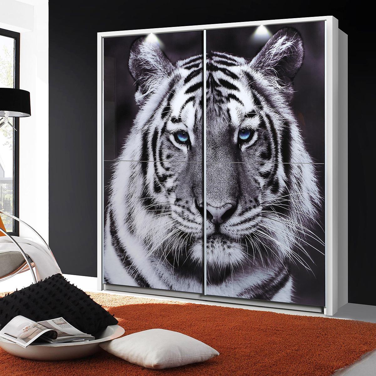 schwebet renschrank yanis kleiderschrank schrank wei glas mit tigermotiv 170 cm ebay. Black Bedroom Furniture Sets. Home Design Ideas