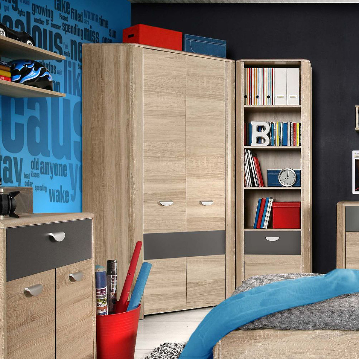 eckschrank yook kleiderschrank jugendzimmerschrank sonoma eiche grau anthrazit ebay. Black Bedroom Furniture Sets. Home Design Ideas