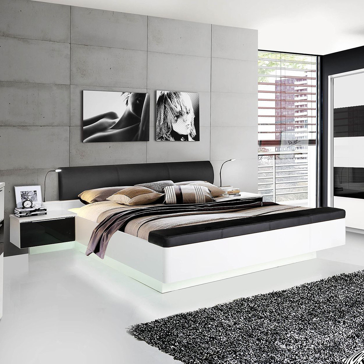 bettanlage freemont bett nachtkommode in wei schwarzglas gepolstert 180x200 eur 468 95. Black Bedroom Furniture Sets. Home Design Ideas