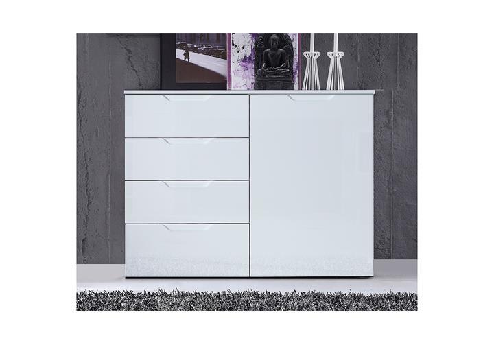 kommode 1 sienna sideboard anrichte schubkastenkommode in wei hochglanz ebay. Black Bedroom Furniture Sets. Home Design Ideas