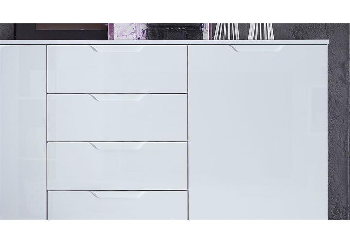 sideboard sienna kommode anrichte schubkastenkommode in wei hochglanz ebay. Black Bedroom Furniture Sets. Home Design Ideas