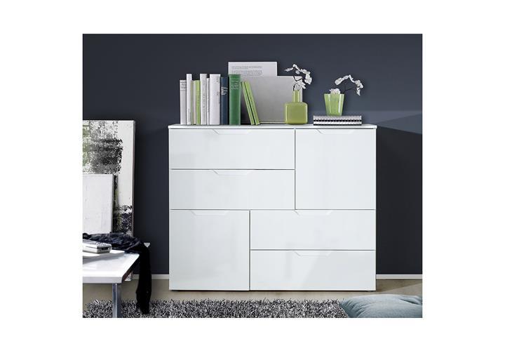 kommode 2 sienna anrichte sideboard schubkastenkommode in wei hochglanz ebay. Black Bedroom Furniture Sets. Home Design Ideas