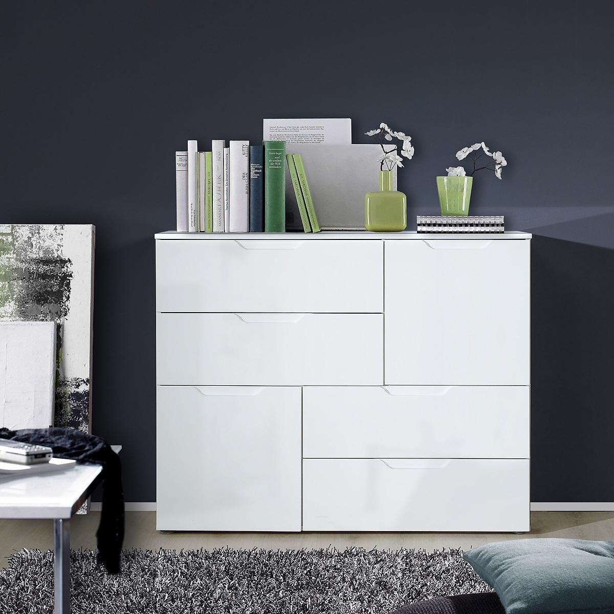 kommode 2 sienna anrichte sideboard schubkastenkommode in wei hochglanz eur 188 95 picclick de. Black Bedroom Furniture Sets. Home Design Ideas